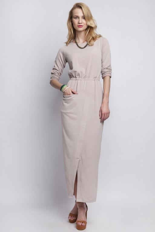 Maxi dress with asymmetrical pocket, SUK111 beige