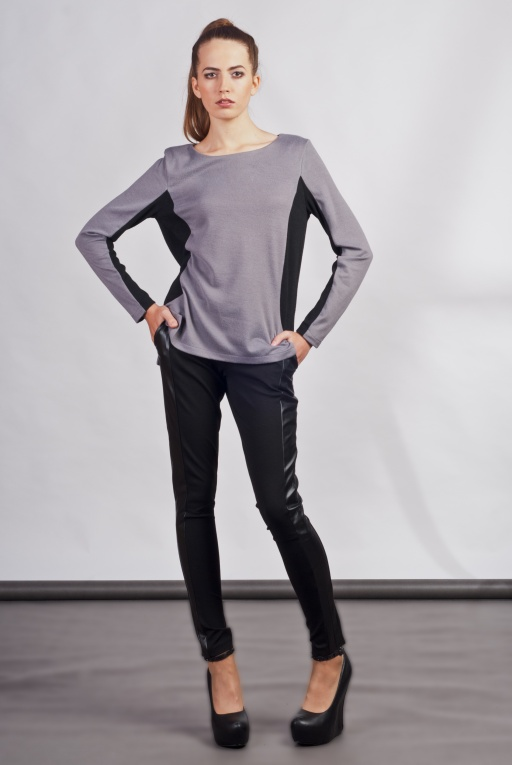 Blouse with longer back, BLU108 gray