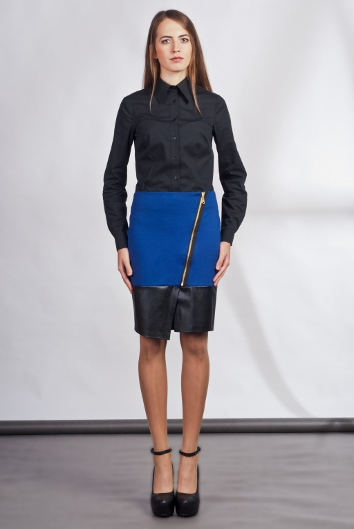 Asymmetrical skirt, SP103 indigo