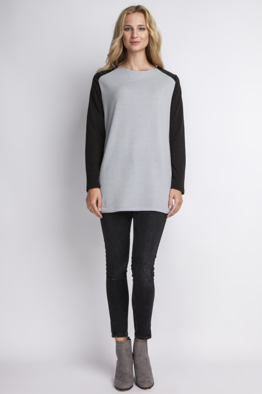 Blouse with epaulettes, BLU109 gray