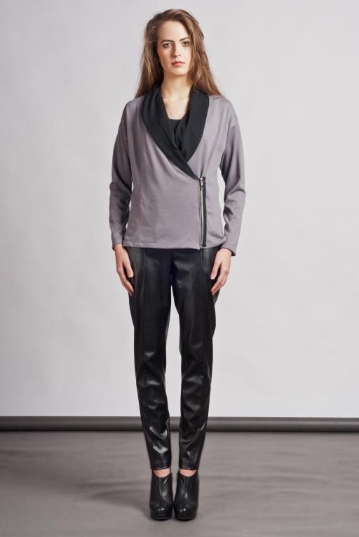 Dressy cardigan with zipper, SWE105 gray