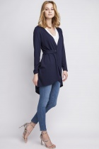 Comfortable cardigan fastened with a buckle, SWE108 navy