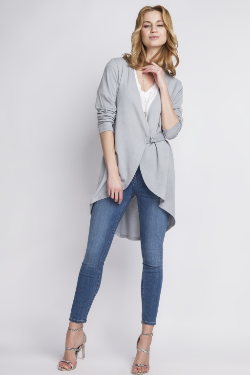Comfortable cardigan fastened with a buckle, SWE108 gray