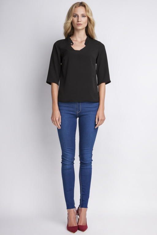 Blouse with a button, BLU116 black