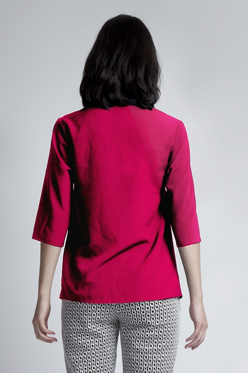 Blouse with a button, BLU116 fuchsia