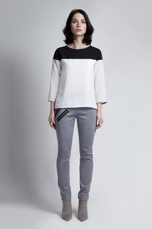 Blouse with 3/4 sleeves, BLU117 black/ecru