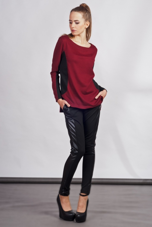 Blouse with longer back, BLU108 burgundy