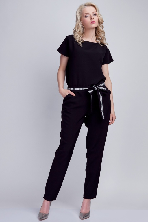 Jumpsuit with belt, KB102 black