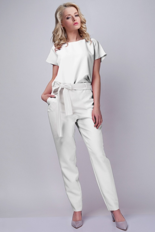 Jumpsuit with belt, KB102 ecru