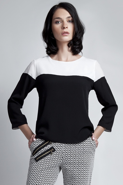 Blouse with 3/4 sleeves, BLU117 ecru/black