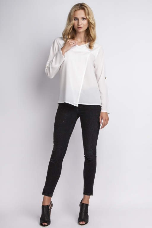 Blouse buttoned sleeves, BLU118 ecru