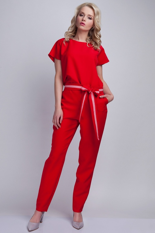 Jumpsuit with belt, KB102 red