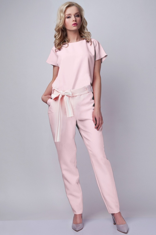 Jumpsuit with belt, KB102 pink