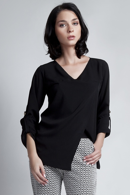 Blouse buttoned sleeves, BLU118 black